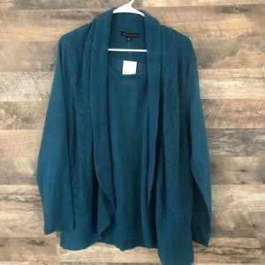NWT 1X Napa Valley Teal Open Front Cardigan